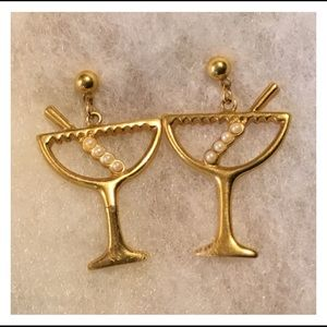 Vintage Gold Pearl Martini Glass Earrings